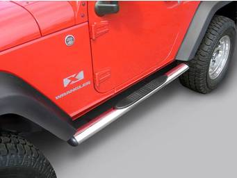 "Rugged Ridge 4"" Stainless Oval Side Steps 11593.07 01"
