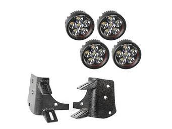 Rugged Ridge A-Pillar Round LED Light Kit